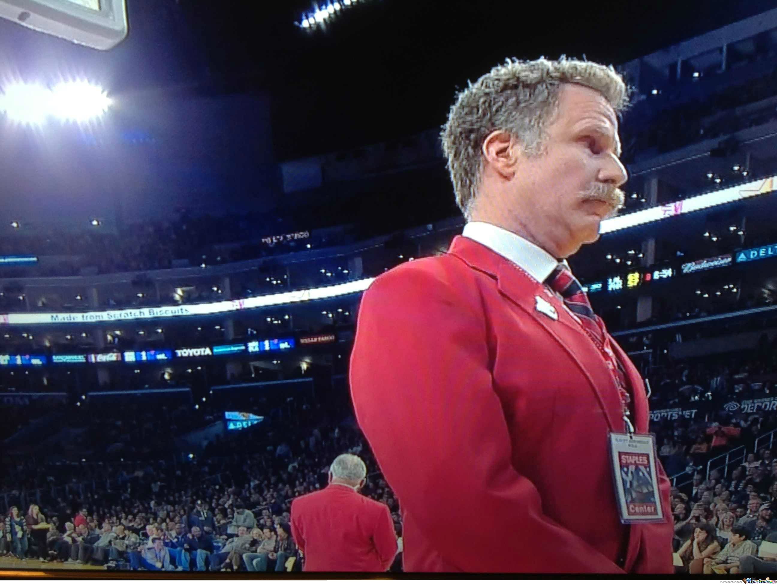 Just A Regular Security Guard At A Lakers Game....not Will Ferrell