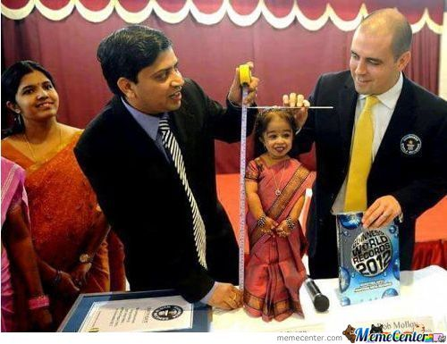 Jyoti Amge (Born December 16, 1993), A Resident Of Nagpur, India, Is The World's Smallest Living Woman According To The Limca Book Of Records And Guinness Book Of Records.
