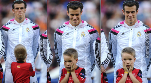 Kid Mascot'S Priceless Reaction After Realising Real Madrid'S Gareth Bale Is Standing Behind Him
