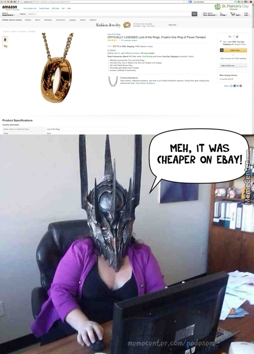 Lady Sauron Is Not Pleased