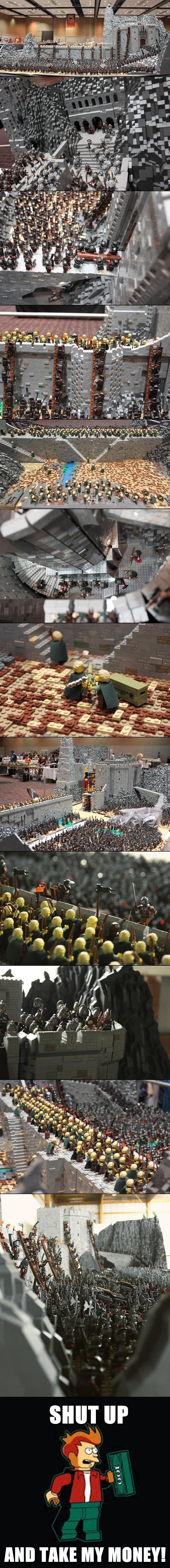 Lego Recreation Of Lotr's Helm's Deep Battle. Hell Yeah!