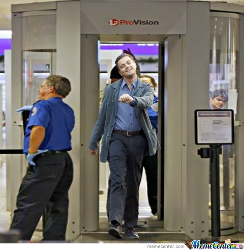 Leo goes through an airport security checkpoint