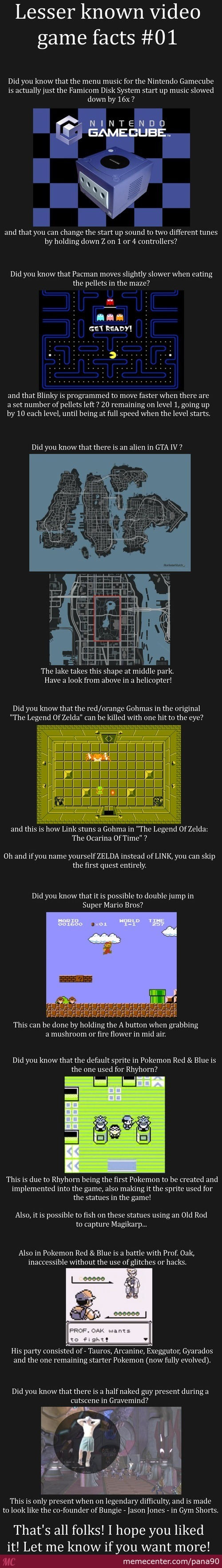 Lesser Known Video Game Facts (Not Mine)