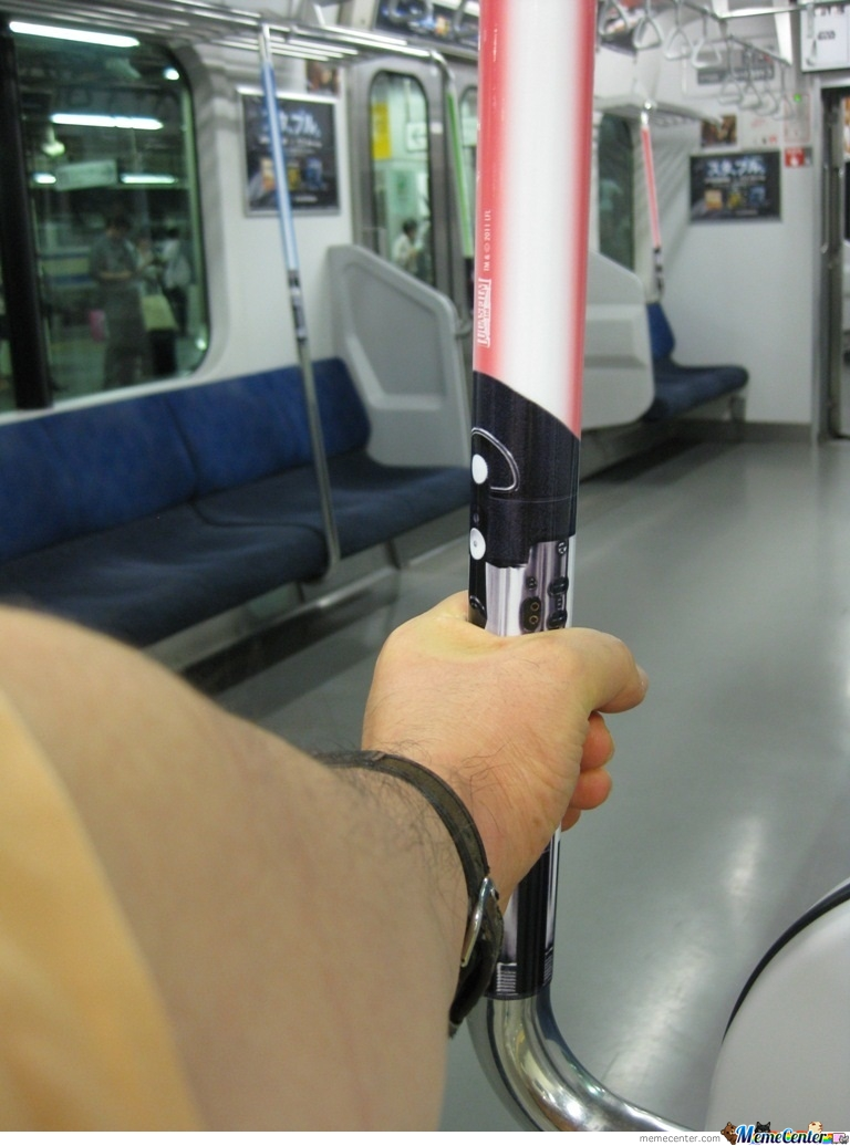 Lightsaber Handrails On Japanese Trains.