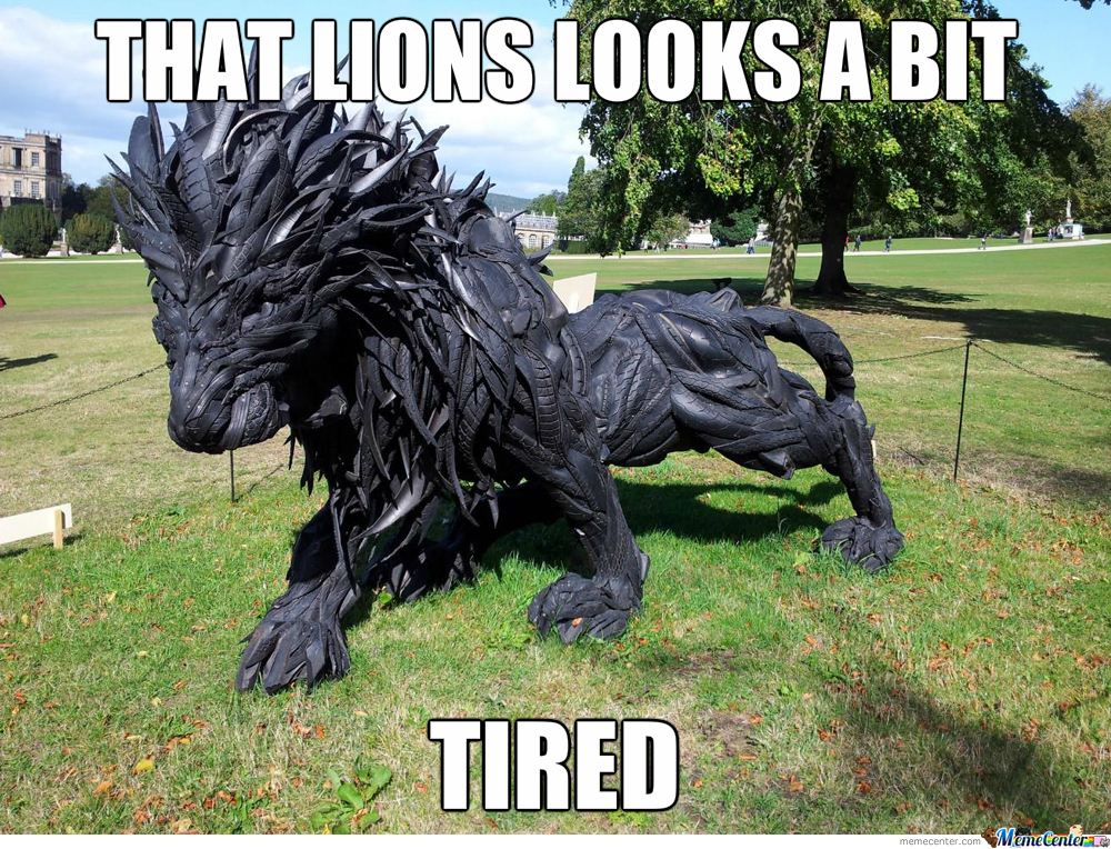 Lion Made Of Tyres