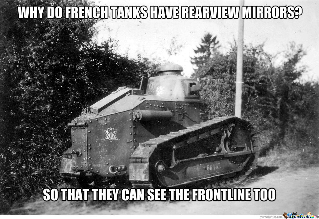 Why do french tanks have rearview mirrors?