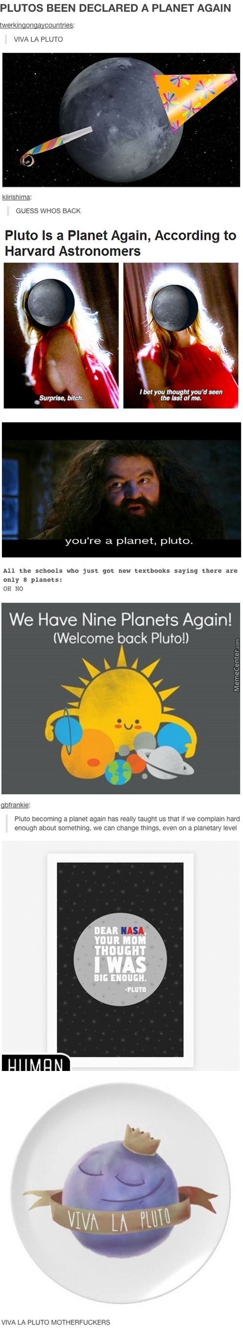 Look Whose Back Bitches It's Pluto ,,, ( Pluto May Become A Planet Again! ,,, Well Pluto Is A Planet Again. Sorta. )