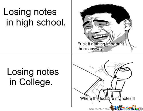 Losing Notes In High School And College