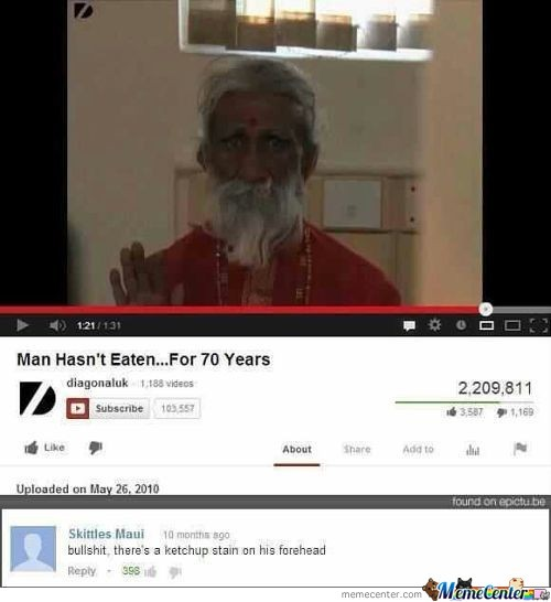 Man Hasn't Eaten For 70 Years