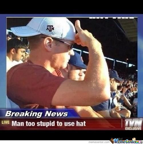 Man Too Stupid To Use Hat