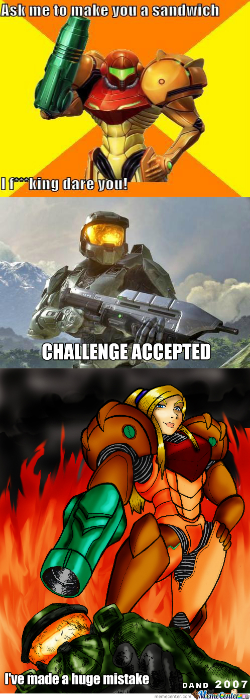 Master Chief High As Fuck, Thinking He Can Challenge Samus And Shit