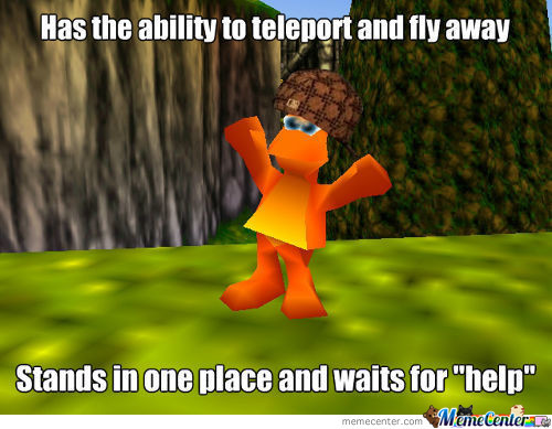 Maybe Banjo Is Giving Him Directions Out Of Here, But Nope. The Jinjo Just Flies Away.