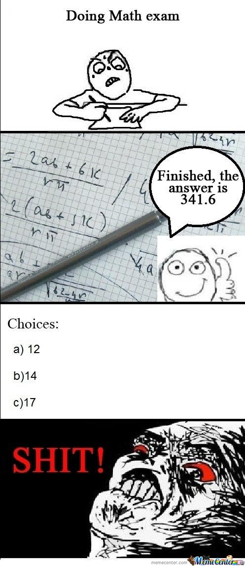Meanwhile In Math's Exam