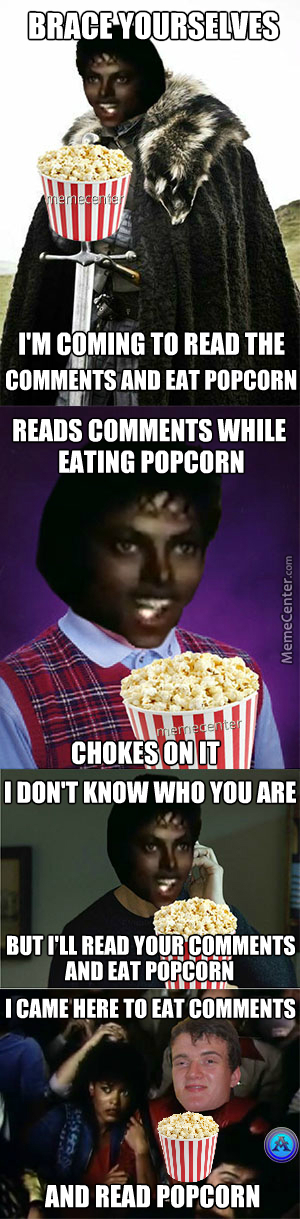 Funny Meme Eating Popcorn : Michael jackson reading the comments and eating popcorn