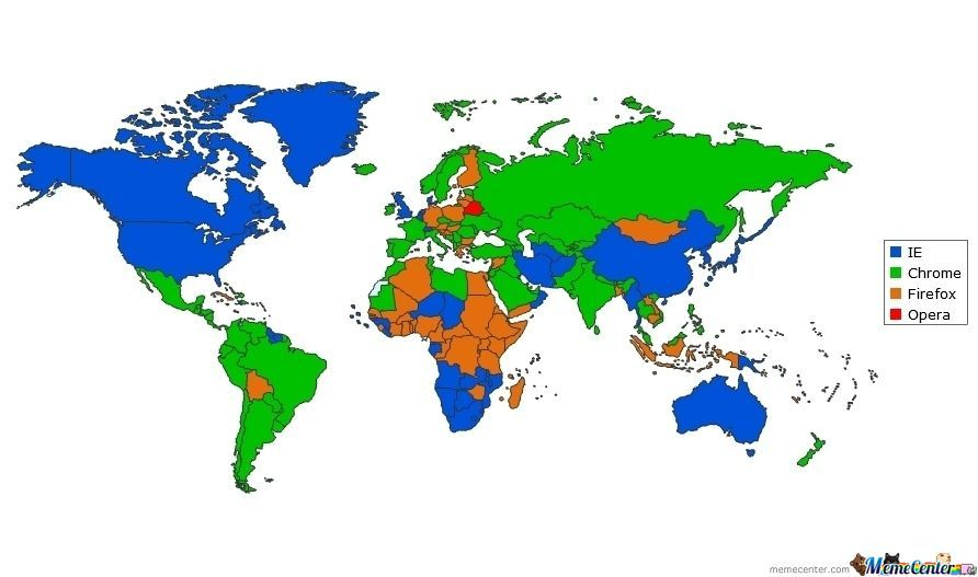 Most Common Browser By Country