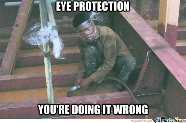 Must Wear Proper Eye Protection