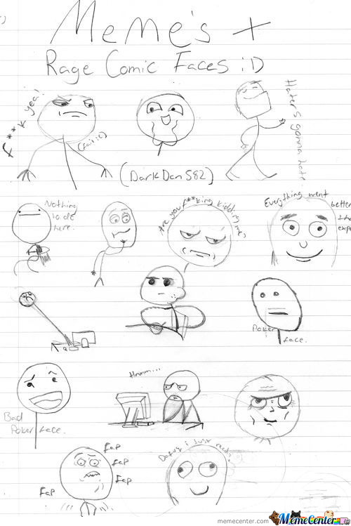 My Hand-Drawn Rage Comic Faces! :d