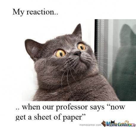 My Reaction When Professor Says ...