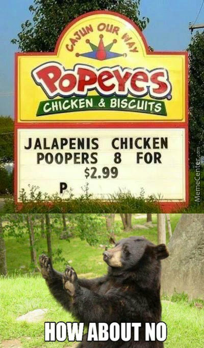 Nice Try Popeyes, No Jalapenis Chicken Poopers For Me.