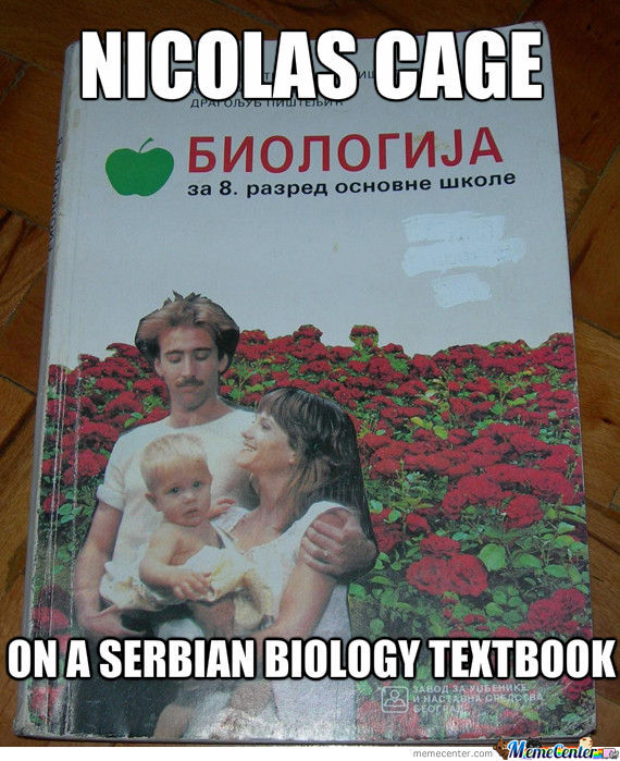 Nicolas Cage On Serbian Biology Textbook