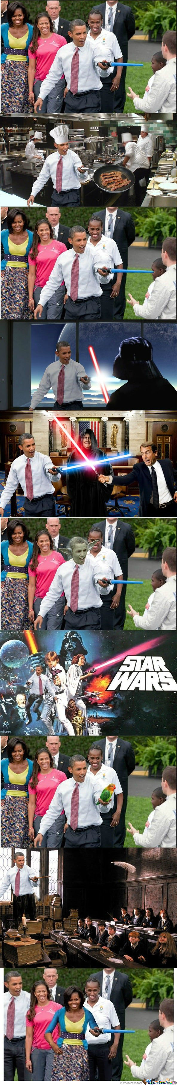 Obama And A Lightsaber