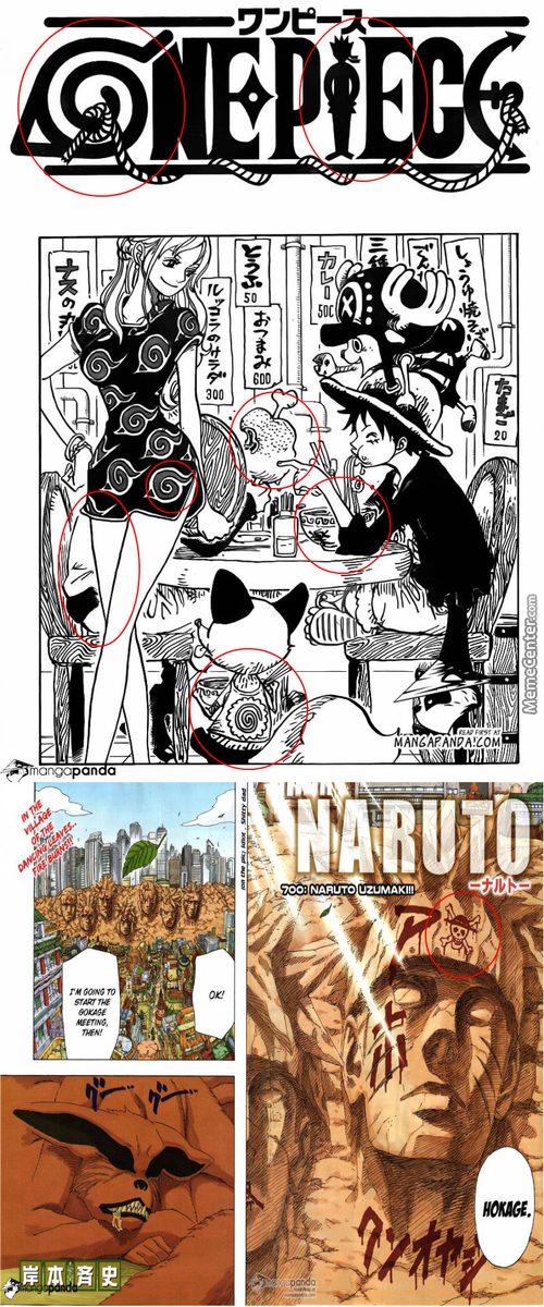 Oda Dedicating Cover To Naruto Ending And Kishimoto Replying Back.