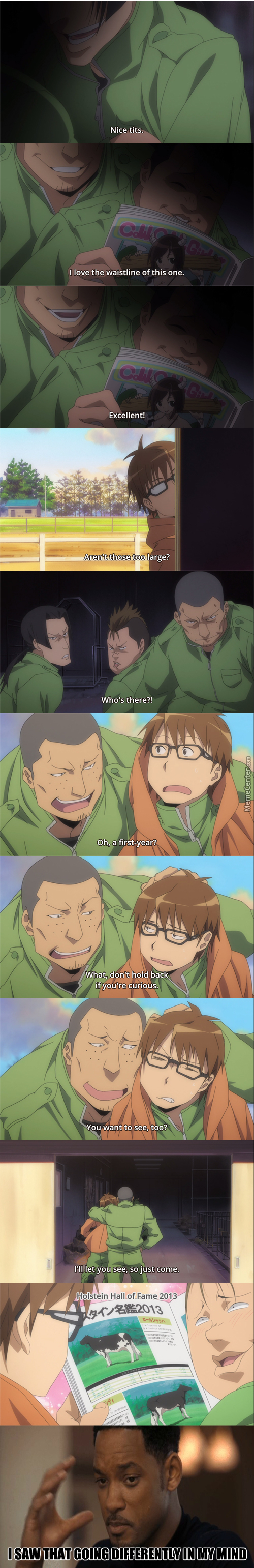 Oh, So That's What You Three Been Talking About (Anime: Silver Spoon)