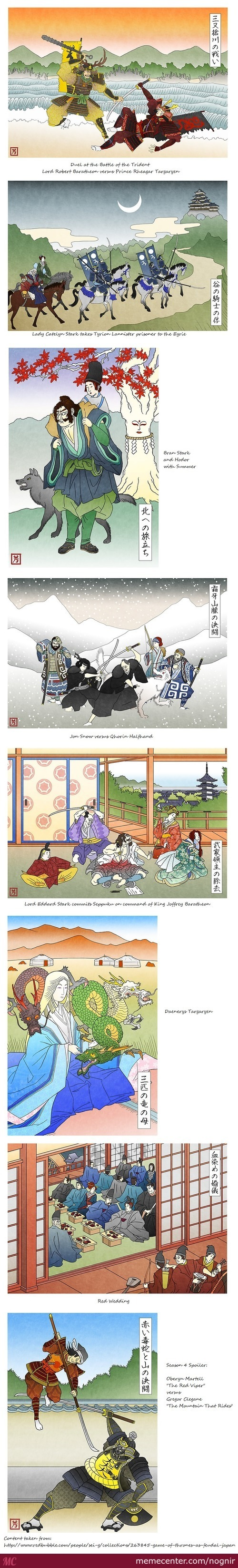 Paintings Of Game Of Thrones In Feudal Japan Style