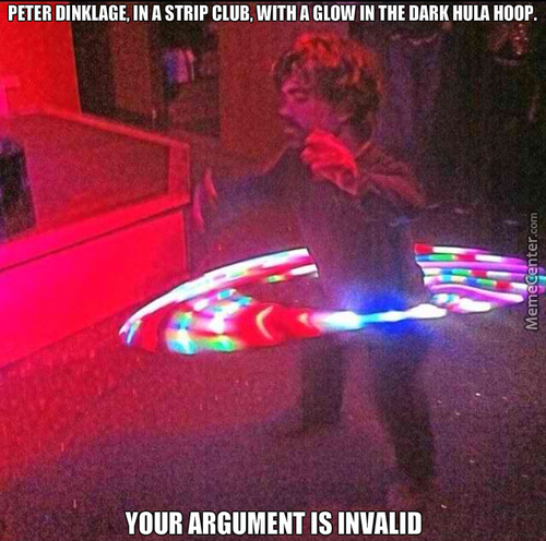 Peter Dinklage, In A Strip Club, With A Glow In The Dark Hula Hoop.