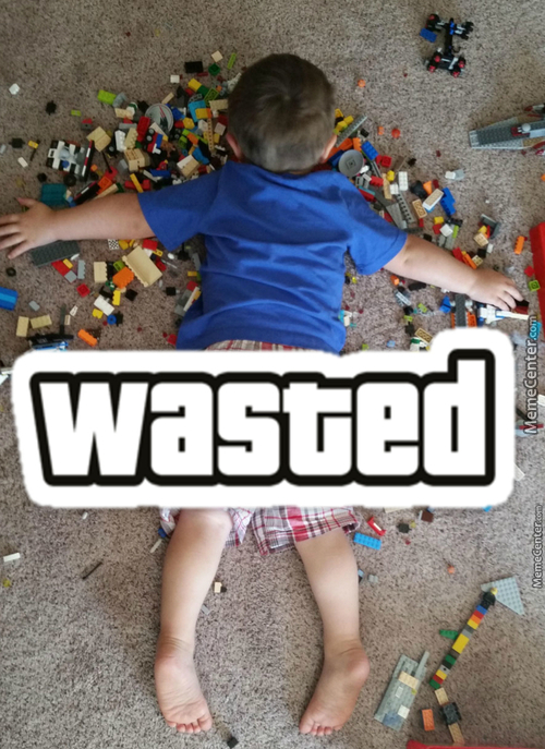 Poor Kid, Legos Will Get You Everytime.
