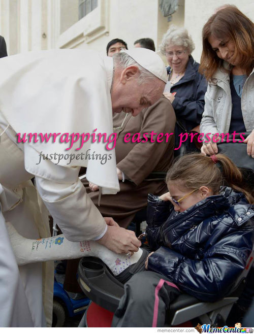 Pope Unwrapping His Easter Presents