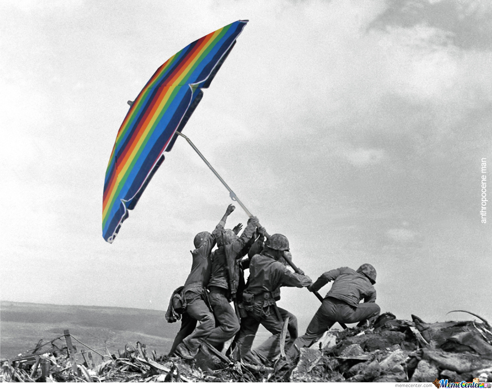 Raising The Sunshade On Iwo Jima