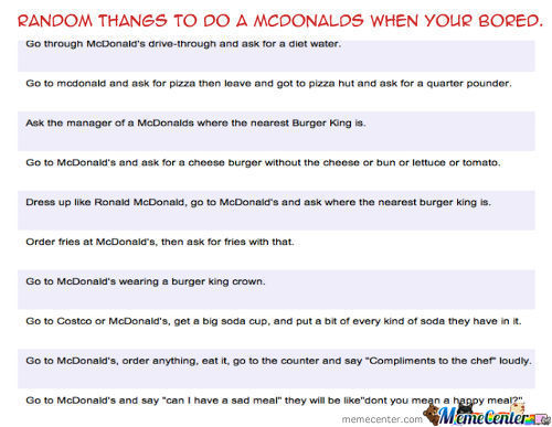 Random Things To Do At Mcdonalds.