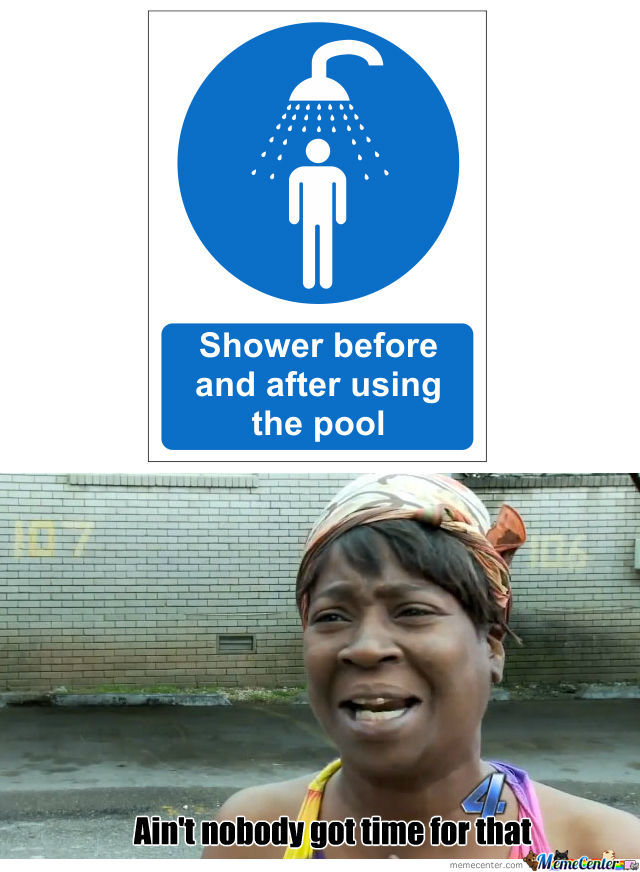 Shower before and after using the pool