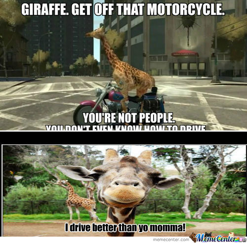 [RMX] Giraffe. Get Off That Motorcycle.