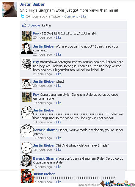 [RMX] Justin Bieber vs. PSY on facebook