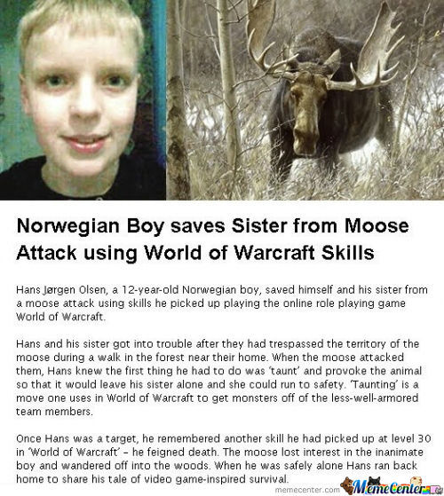 [RMX] Norwegian boy saves sister from Moose attack using World Of Warcraft skills