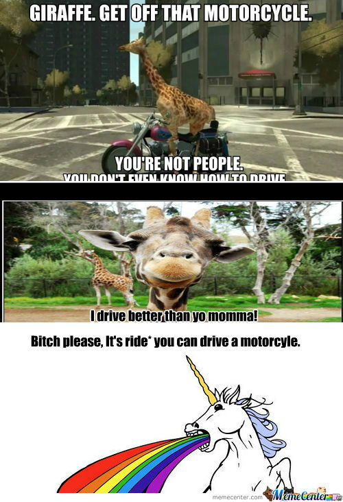 [RMX] [RMX] Giraffe. Get Off That Motorcycle.