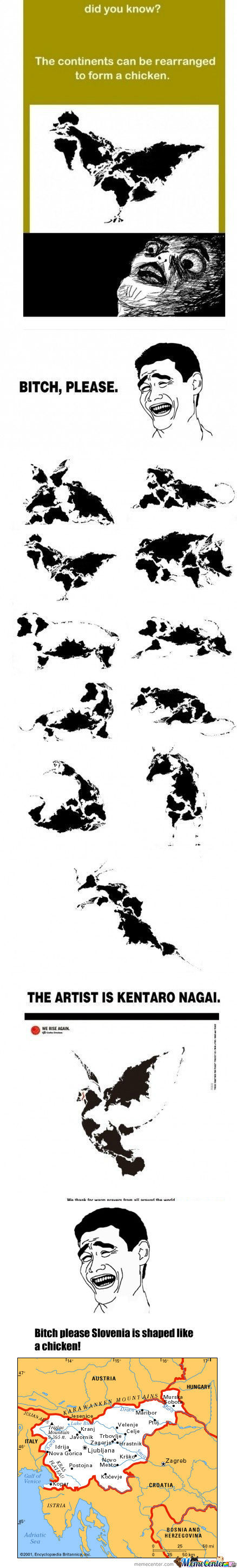 [RMX] The continents can be rearranged to form a chicken Remixed