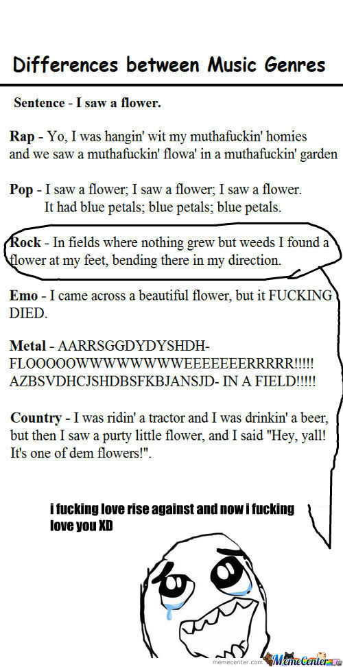 [RMX] The Difference Between Musical Genres Demonstrated With A Simple Sentance :)