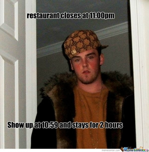 scumbag in restaurant