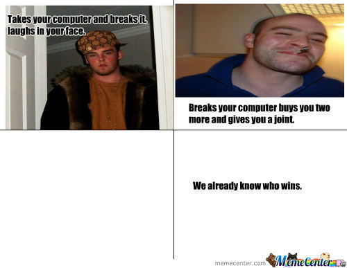 Scumbag Steve V.s Good Guy Greg