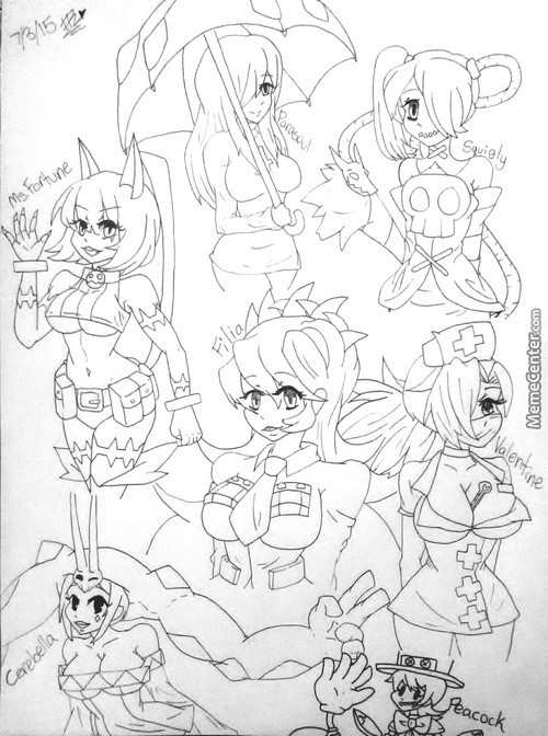 Skullgirl Sketches (Because Drawing Women Is Fun To Me)
