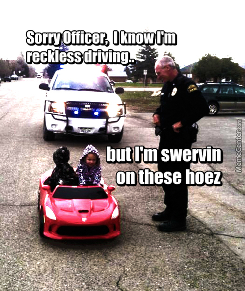 Sorry Officer, I Know I'm Reckless Driving But I'm Swervin On These Hoes - Steven Duke Meme