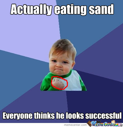 Success Kid Eats Sand!