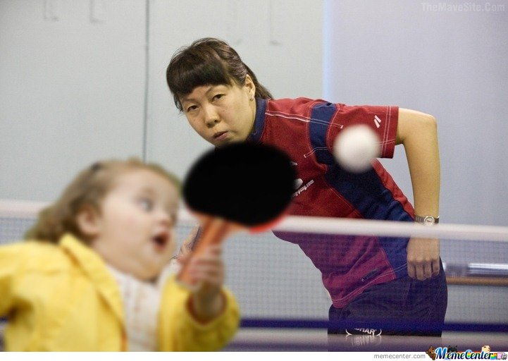 Funny Running Pictures Little Girl Table Tennis by Lemony...