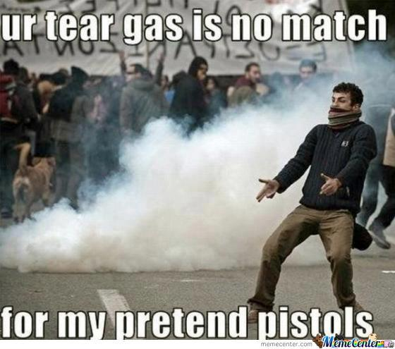 Teat Gas In No Match To His Pretend Pistols
