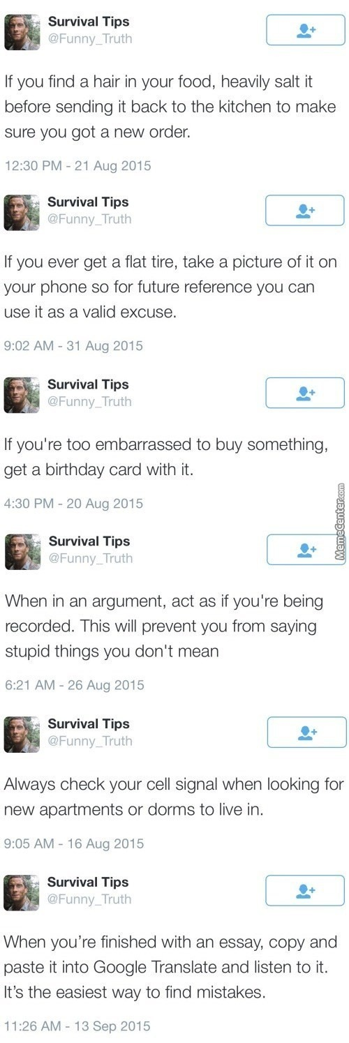 Thanks Survival Tips!