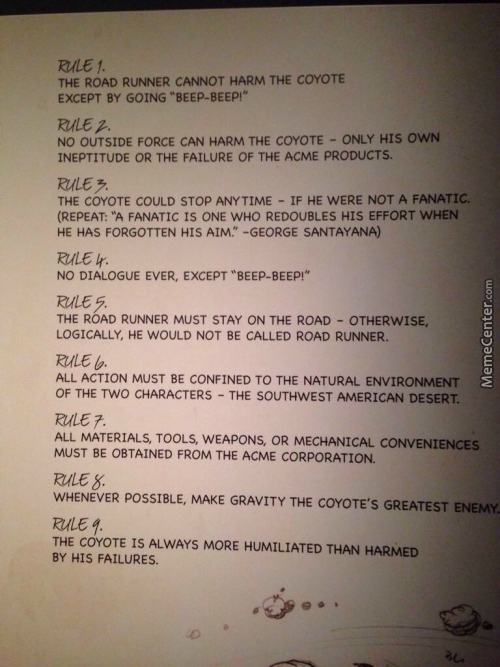 The 9 Strict Rules Of Road Runner And Wile E. Cartoons