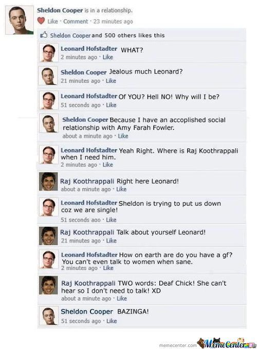 The Big Bang Theory's Characters At Facebook